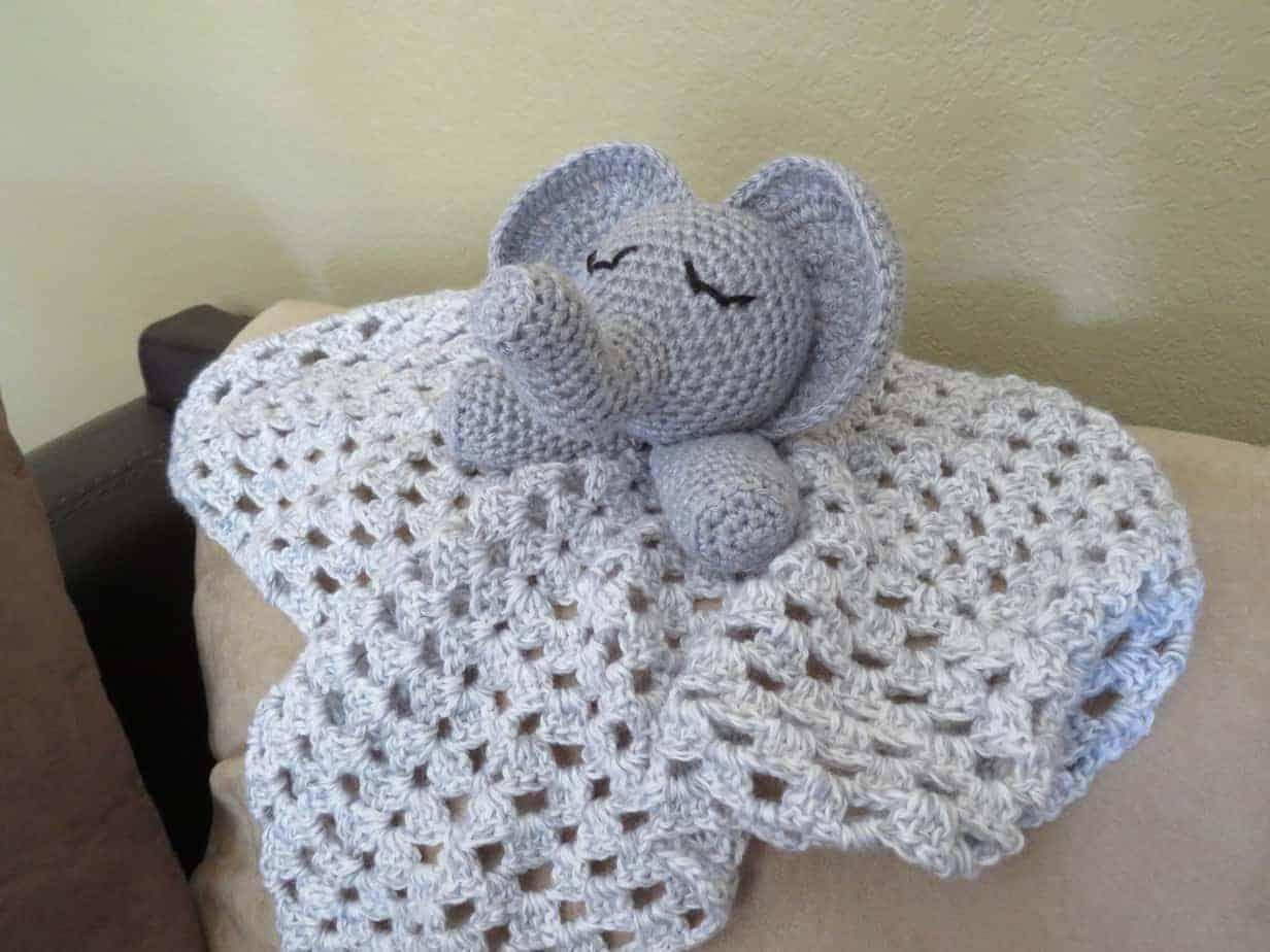 Floppy Elephant Lovey Crochet Pattern, printable  pdf